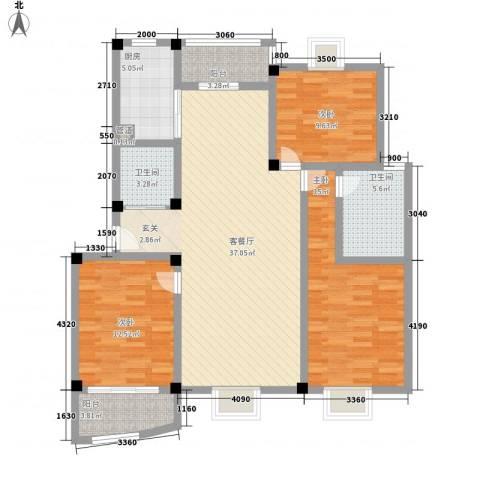 勤德家园3室1厅2卫1厨138.00㎡户型图