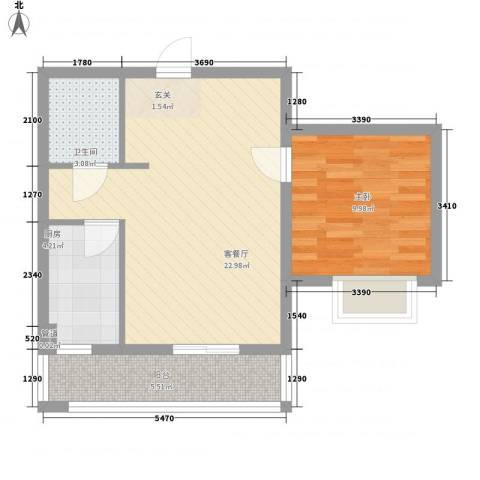 春城花园1室1厅1卫1厨66.00㎡户型图