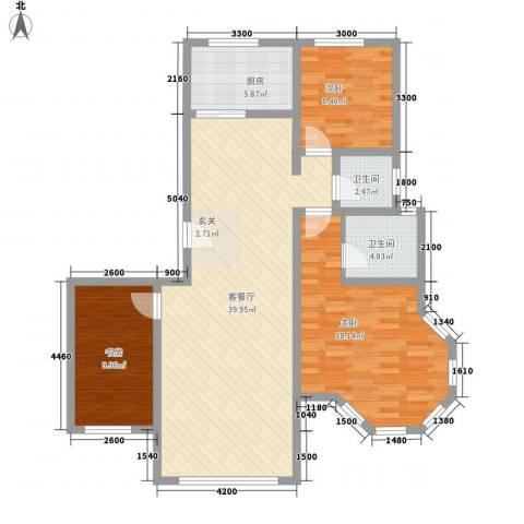 大院三期宽庭3室1厅2卫1厨118.00㎡户型图
