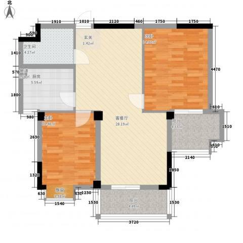 世纪银座2室1厅1卫1厨72.51㎡户型图