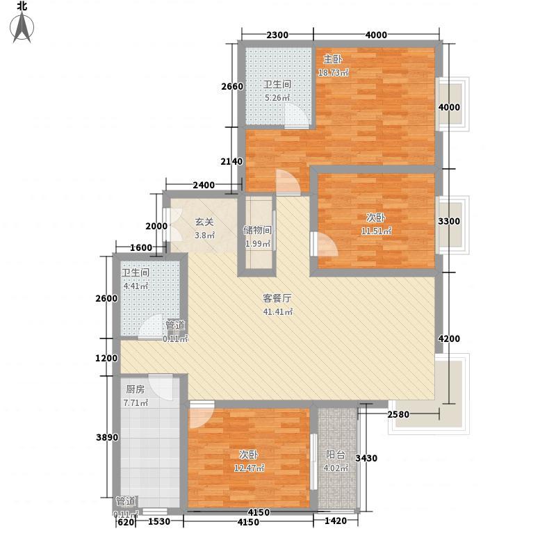 御龙庭户型图户型(三) 3室