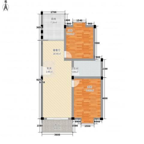 金鑫花苑2室1厅1卫1厨104.00㎡户型图