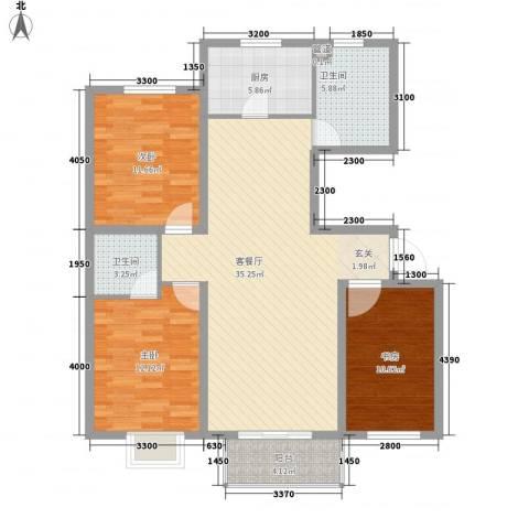 鼎盛花园别墅3室1厅2卫1厨126.00㎡户型图
