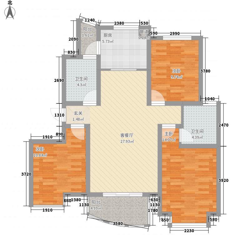 银河湾121.00㎡二期2、5、6号楼D3户型3室2厅2卫1厨