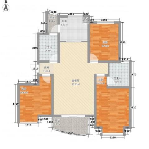 银河湾3室1厅2卫1厨121.00㎡户型图