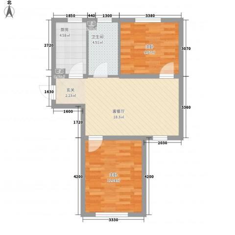 新城丽景2室1厅1卫1厨48.84㎡户型图
