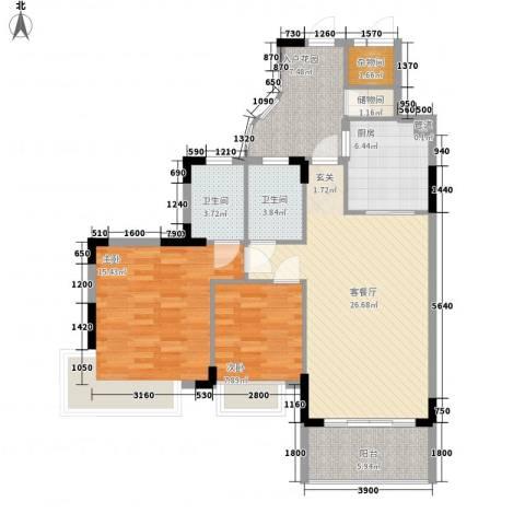 石竹山水园2室1厅2卫1厨96.00㎡户型图
