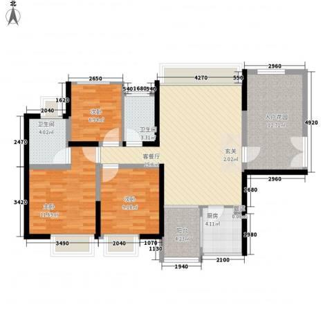 火车站湘湖宿舍3室1厅2卫1厨118.00㎡户型图