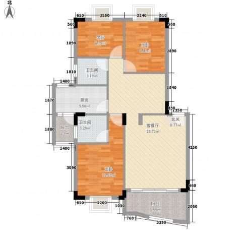 东田丽园3室1厅2卫1厨108.00㎡户型图