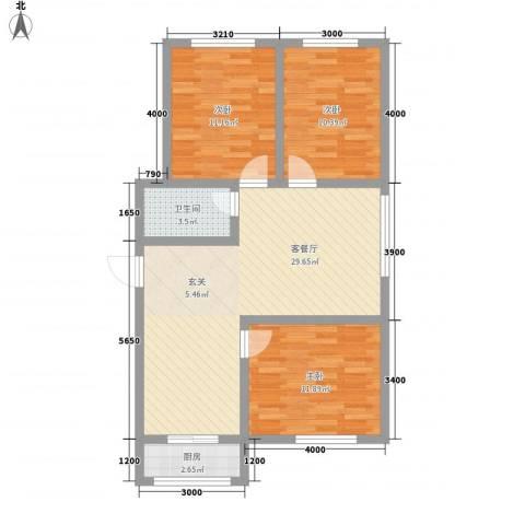 江岸龙苑3室1厅1卫1厨69.23㎡户型图