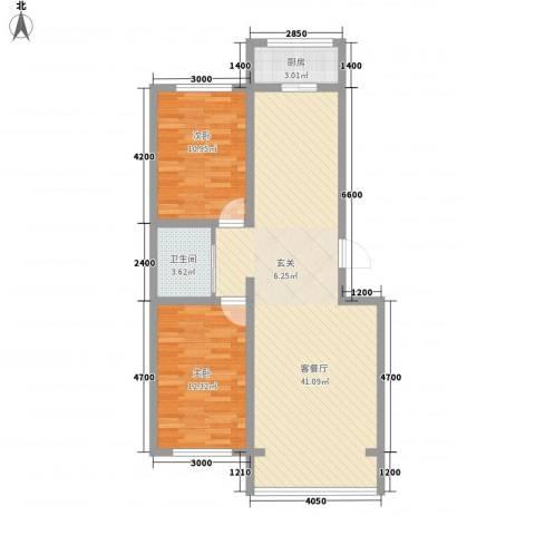 江岸龙苑2室1厅1卫1厨70.99㎡户型图