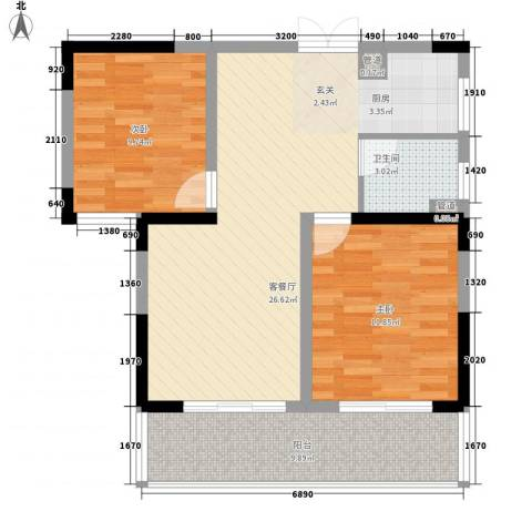 山水湖滨花园二期2室1厅1卫0厨88.00㎡户型图