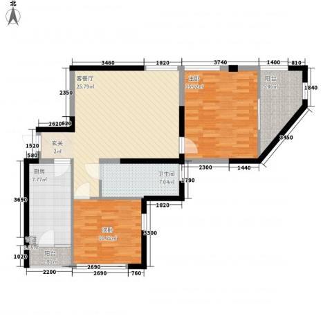 金色地带2室1厅1卫1厨103.00㎡户型图