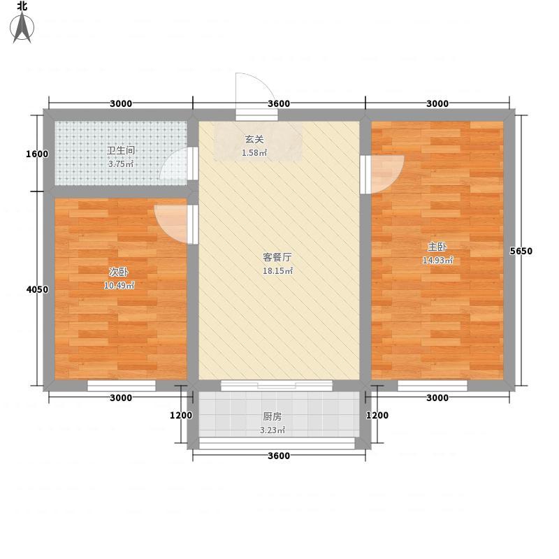 江岸龙苑6.00㎡B户型2室1厅1卫1厨