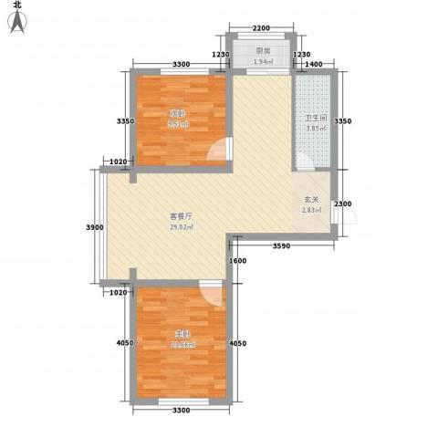 江岸龙苑2室1厅1卫1厨55.99㎡户型图
