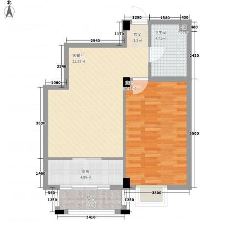 保利花园三期双河城1室1厅1卫1厨69.00㎡户型图