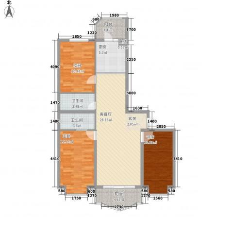 荣耀天地3室1厅2卫1厨112.00㎡户型图