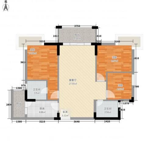 丰泰裕田花园3室1厅2卫1厨108.00㎡户型图