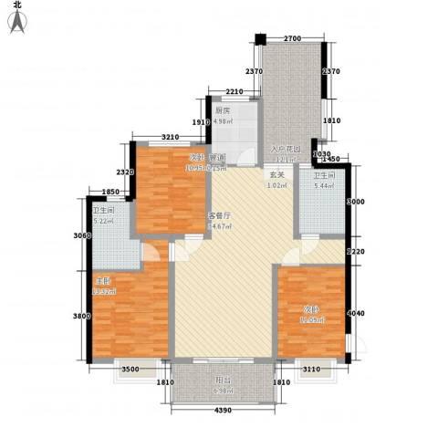 滨湖世纪城徽杰苑3室1厅2卫1厨133.00㎡户型图