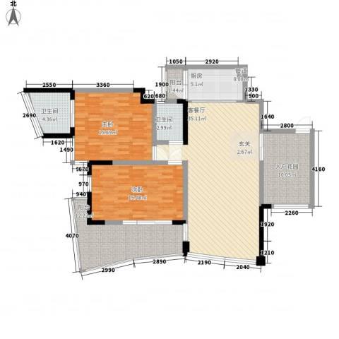 鲁能・三亚湾美丽MALL2室1厅2卫1厨102.52㎡户型图