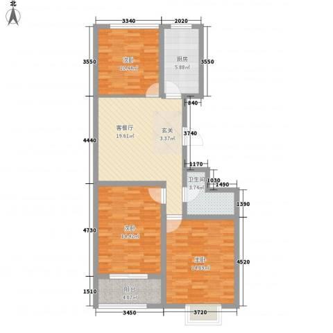 五环国际3室1厅1卫1厨114.00㎡户型图