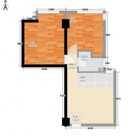金色地带2室1厅1卫0厨66.00㎡户型图