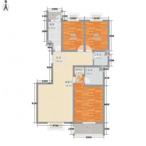 蓝山公馆项目3室1厅2卫1厨136.00㎡户型图