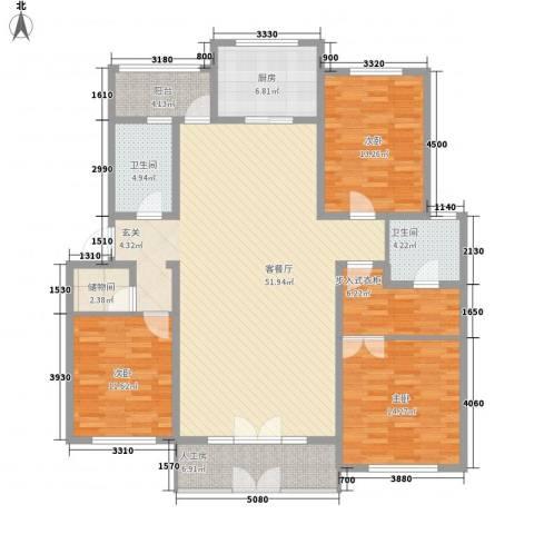 警院小区3室1厅2卫1厨178.00㎡户型图