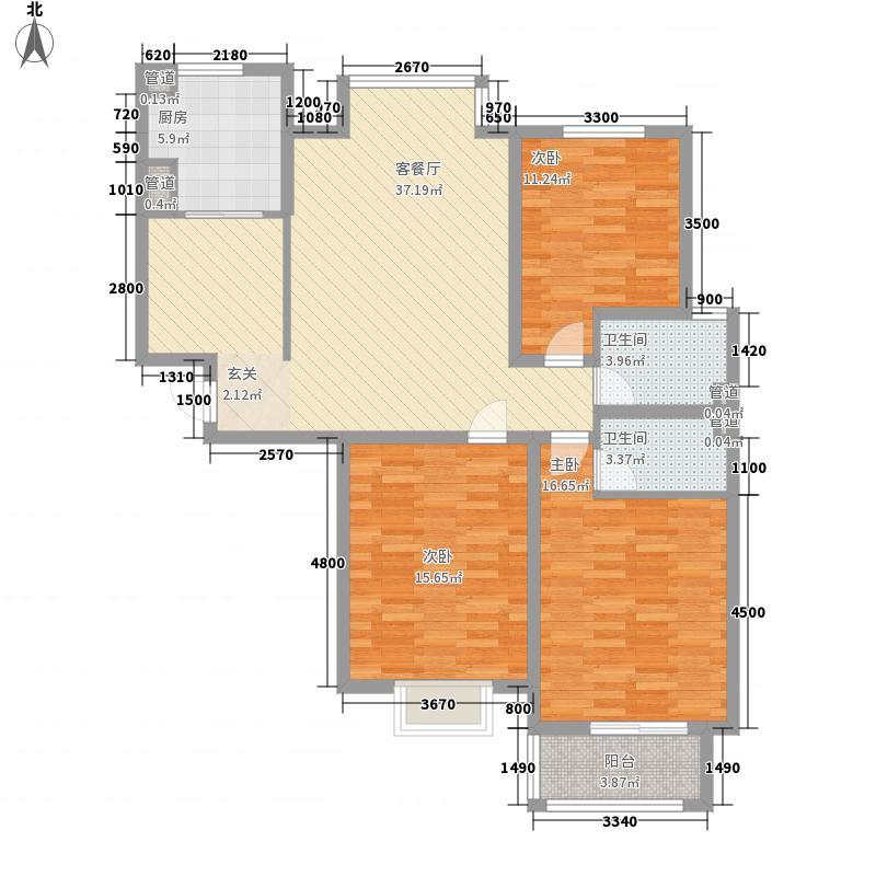 水岸名都二期13.42㎡1#C户型3室2厅1卫