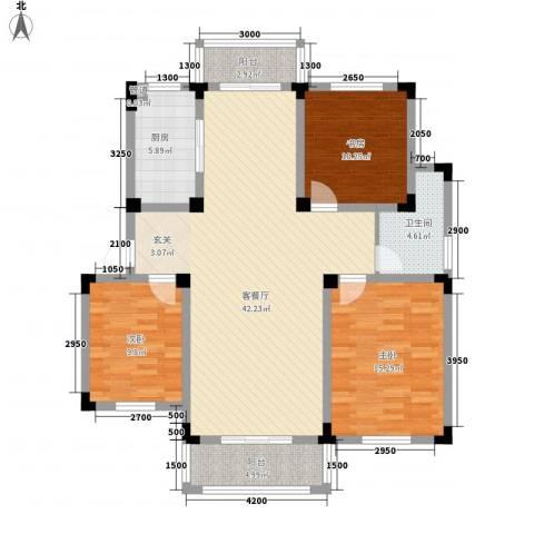 安天国际城3室1厅1卫1厨116.00㎡户型图