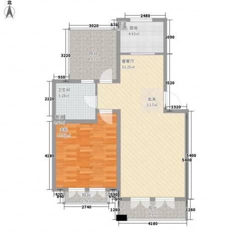警院小区1室1厅1卫1厨103.00㎡户型图