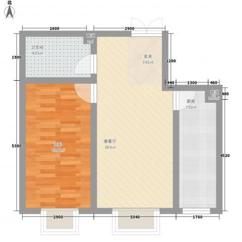 蓝山公馆项目1室1厅1卫1厨66.00㎡户型图