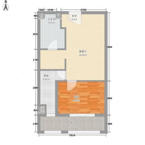 兴龙银座1室1厅1卫1厨73.00㎡户型图