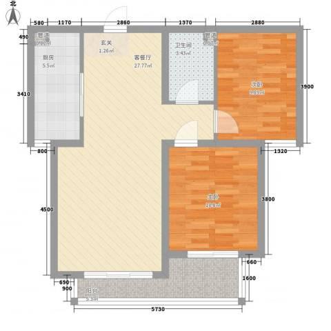 水岸名都二期2室1厅1卫1厨62.87㎡户型图