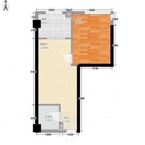 金色地带1室1厅1卫1厨56.00㎡户型图