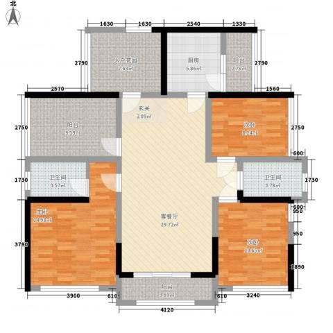 佳兆业水岸豪门3室1厅2卫1厨130.00㎡户型图