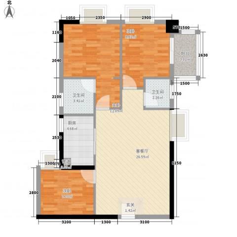福泉楼3室1厅2卫1厨97.00㎡户型图