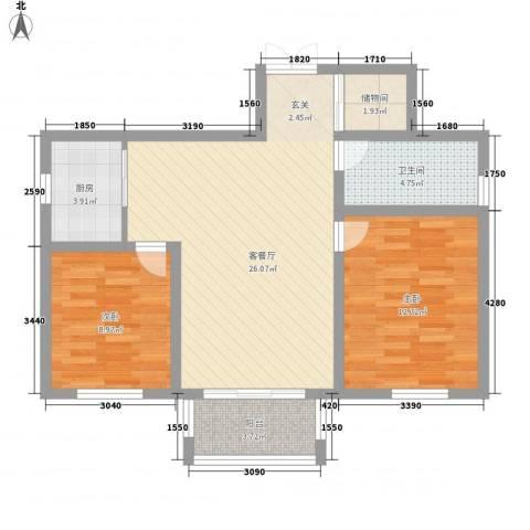 新城公园壹号2室1厅1卫1厨90.00㎡户型图