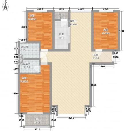 水岸名都二期3室1厅2卫1厨97.52㎡户型图