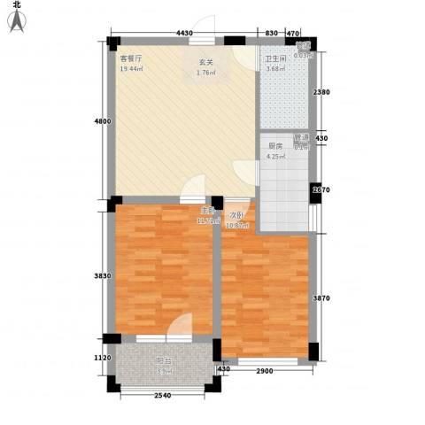 斯坦福院落2室1厅1卫1厨61.70㎡户型图