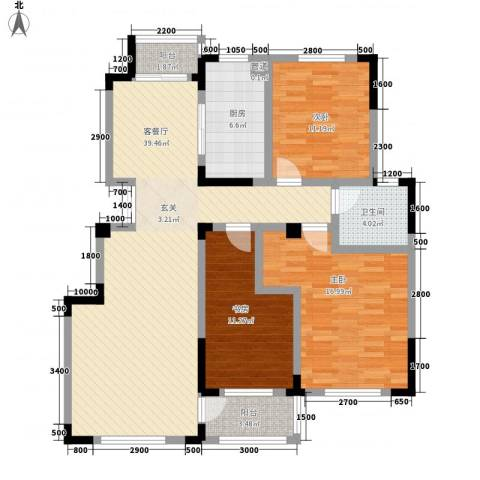 安天国际城3室1厅1卫1厨124.00㎡户型图