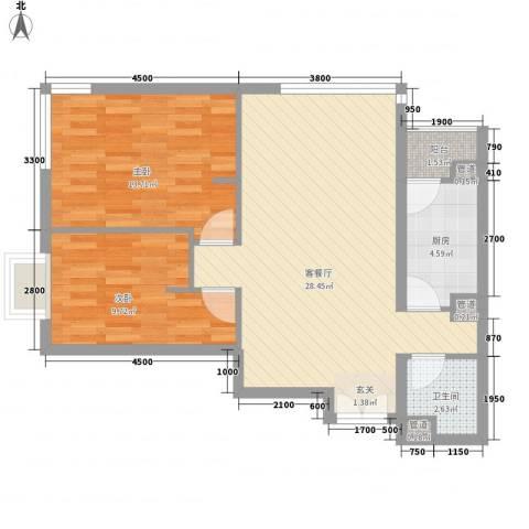 富力城D区2室1厅1卫1厨87.00㎡户型图