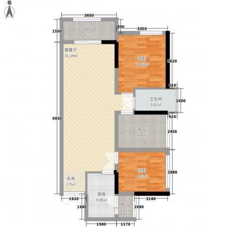 佳兆业水岸豪门2室1厅1卫1厨92.00㎡户型图