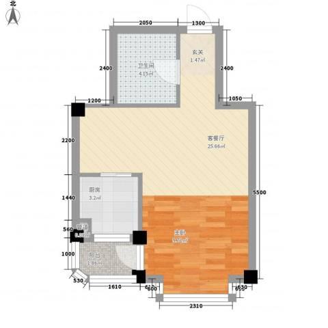 翠岛经典1厅1卫1厨46.00㎡户型图