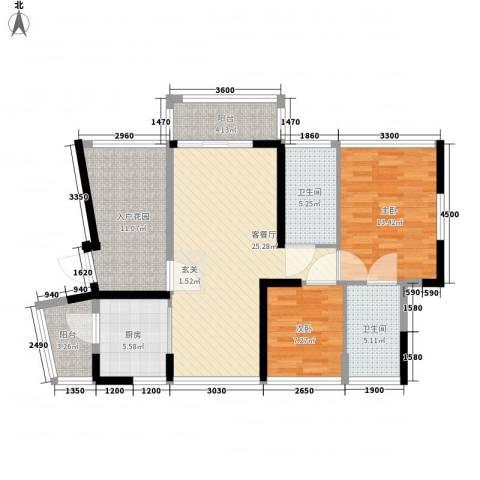 佳兆业水岸豪门2室1厅2卫1厨95.00㎡户型图