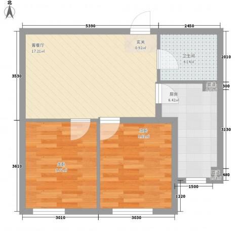 新城丽景2室1厅1卫1厨67.00㎡户型图