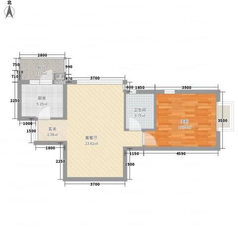 富力城D区1室1厅1卫1厨69.00㎡户型图