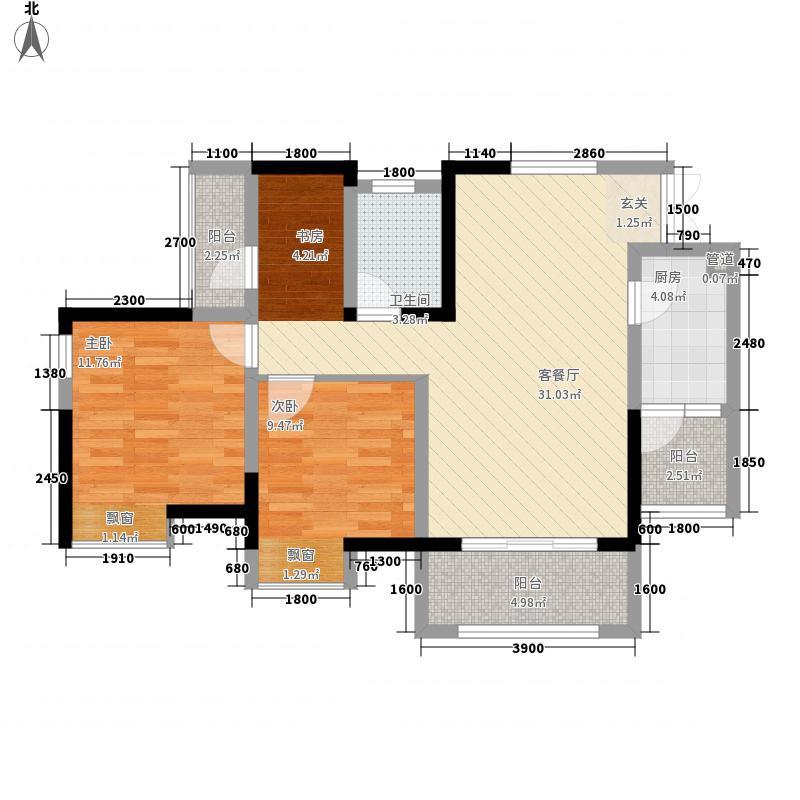 盈田金开里一期高层1/2号楼标准层A2户型