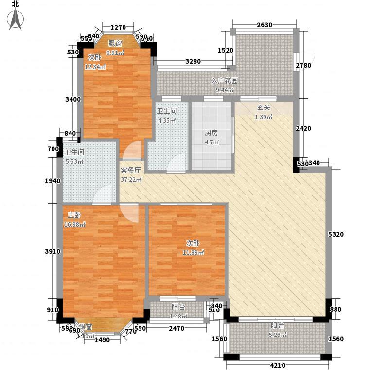 居住主题公园12.55㎡A-8户型3室2厅2卫1厨