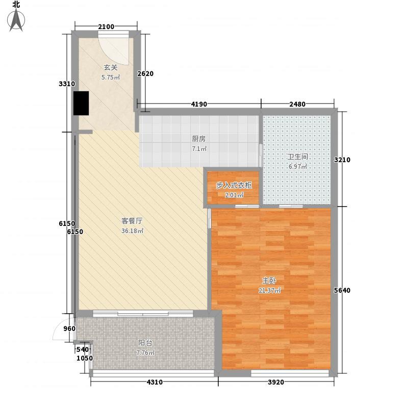 世茂・工三103.24㎡J户型1室2厅1卫1厨